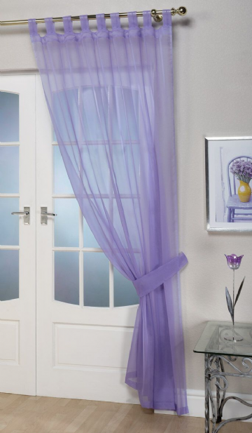 "Ready Made Lilac Tab Top Voile Panel Curtain 60"" x 90 / 152 x 229cm"""